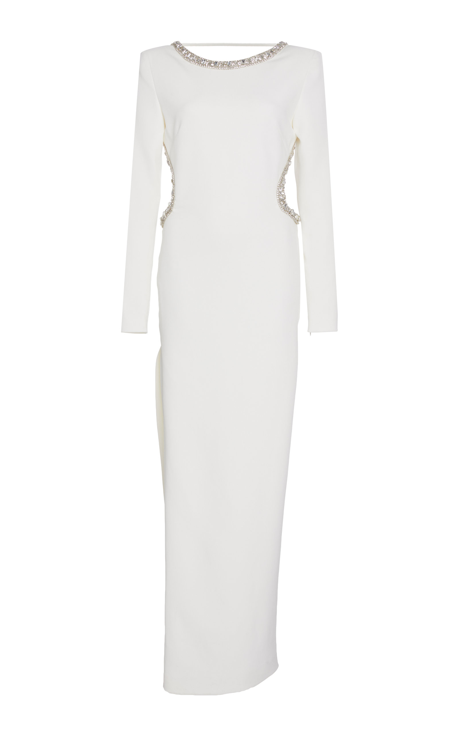 Alessandra Rich EMBELLISHED BACKLESS CREPE GOWN