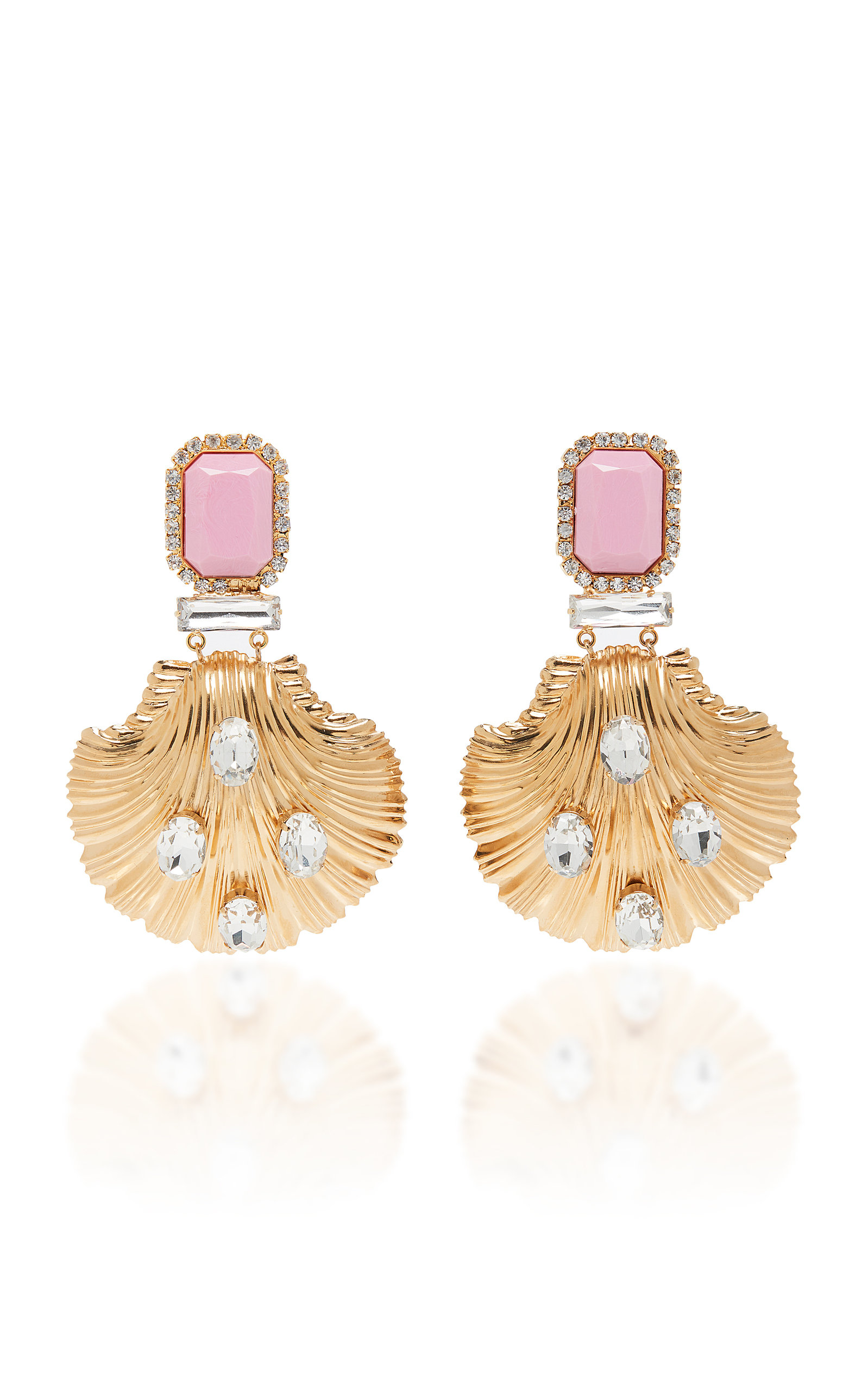 ALESSANDRA RICH PINK AND GOLD SEASHELL EARRINGS