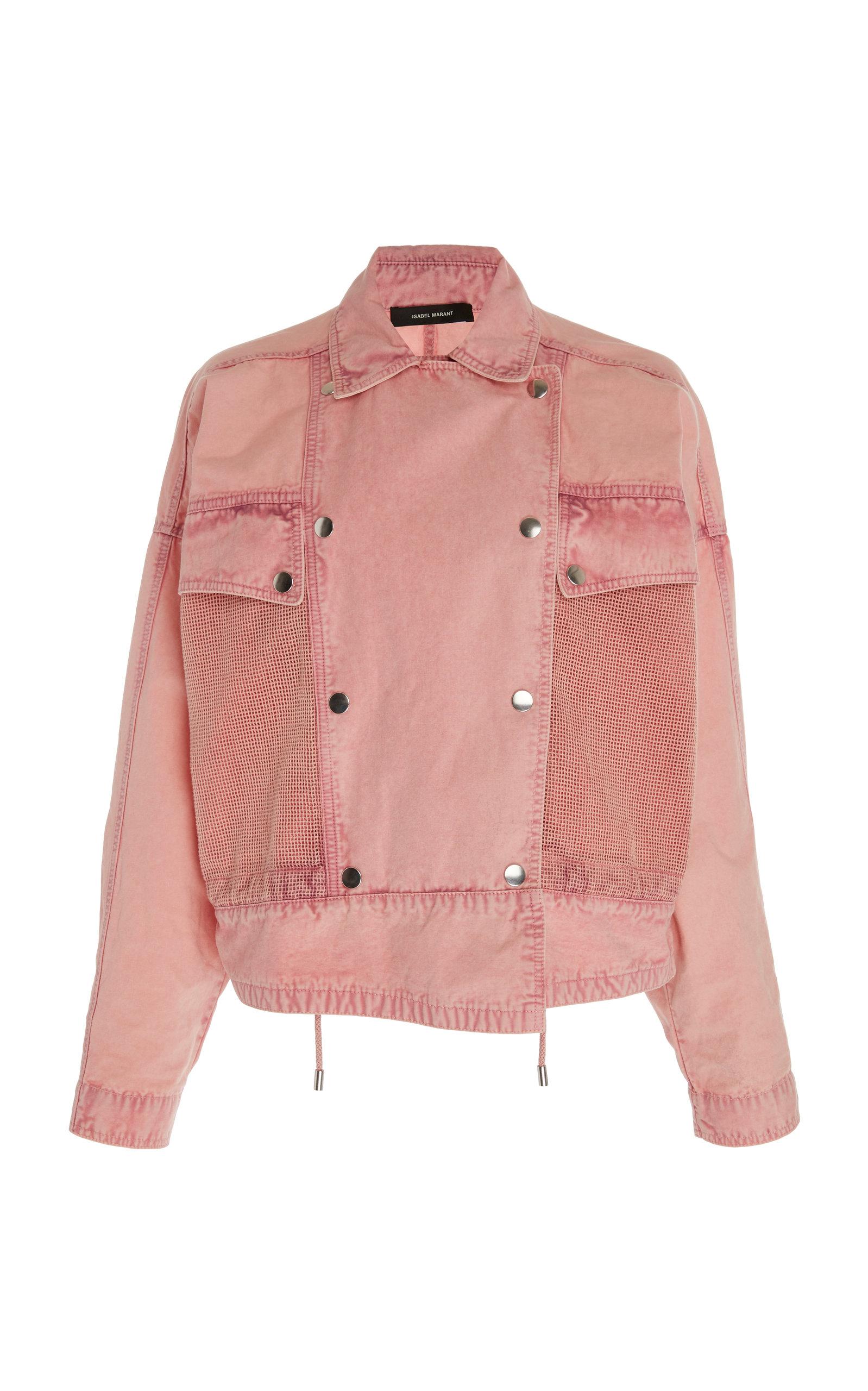 pink patchwork denim jacket