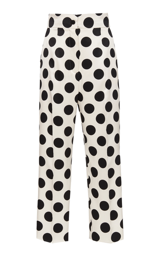 DOLCE & GABBANA | Dolce & Gabbana Polka-Dot Duchesse Satin Cropped Trousers | Goxip
