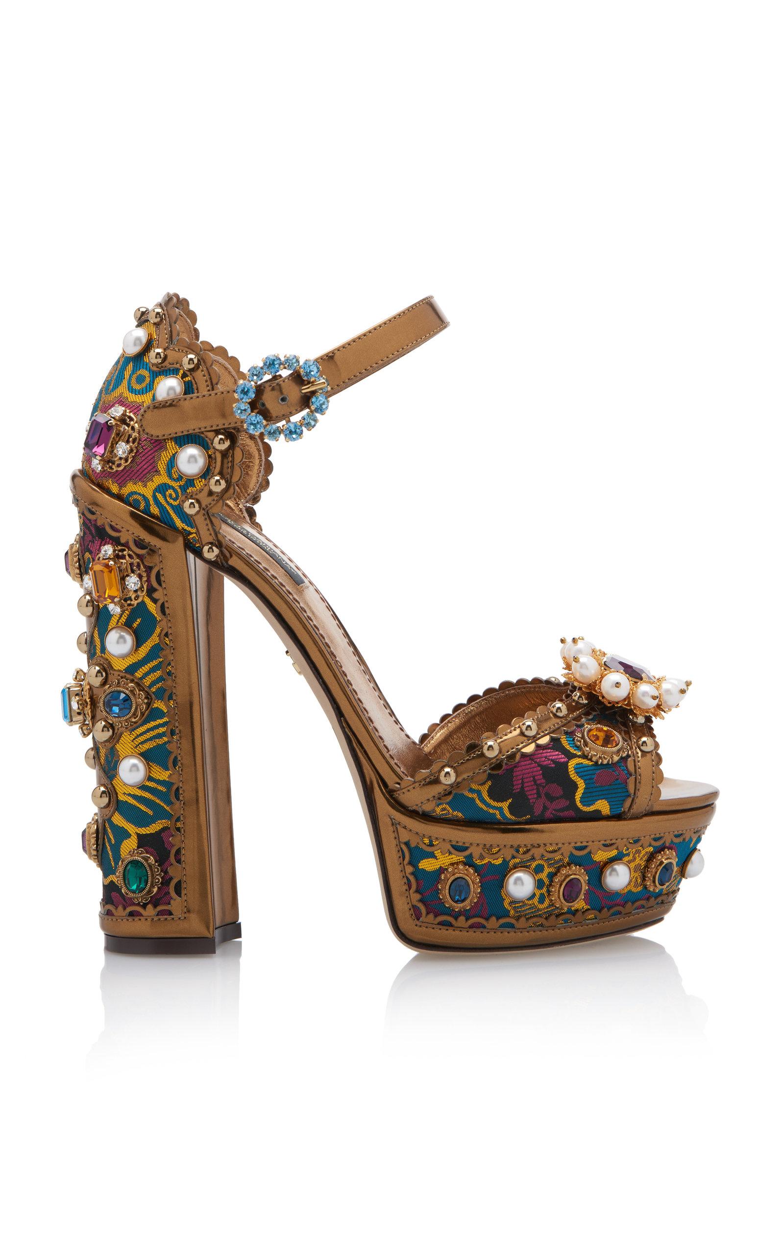 b5f6ca07697e Dolce   GabbanaJewel-Embellished Metallic Leather Platform Sandals. CLOSE.  Loading