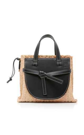 LOEWE | Loewe Gate Small Raffia and Leather Tote | Goxip