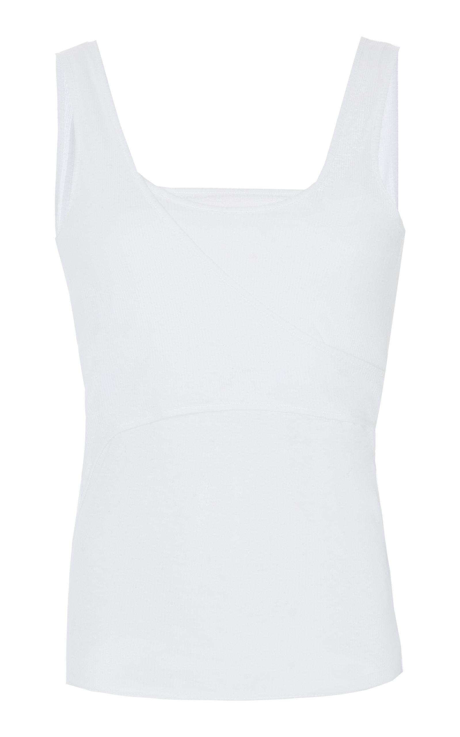 BALMAIN | Balmain Layered Ribbed-Knit Tank Top | Goxip