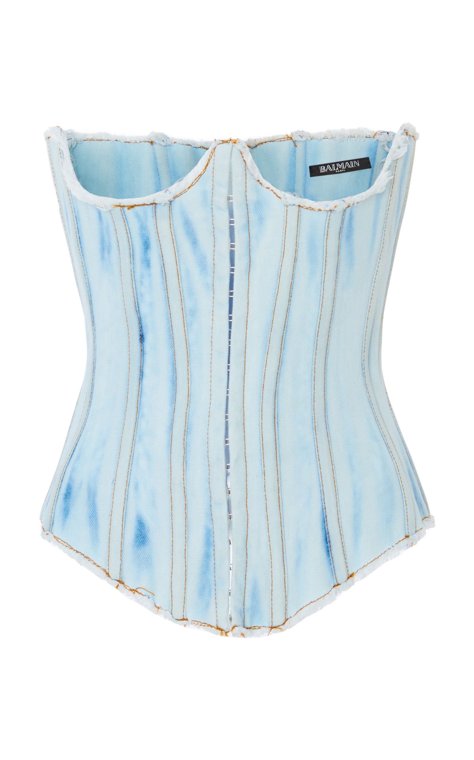 c36434e5db1d8c BalmainBleached Denim Corset Top. CLOSE. Loading