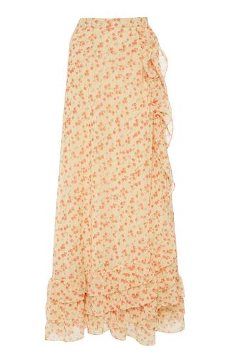 LUISA BECCARIA | Luisa Beccaria Floral Crepe De Chine Wrap Midi Skirt | Goxip