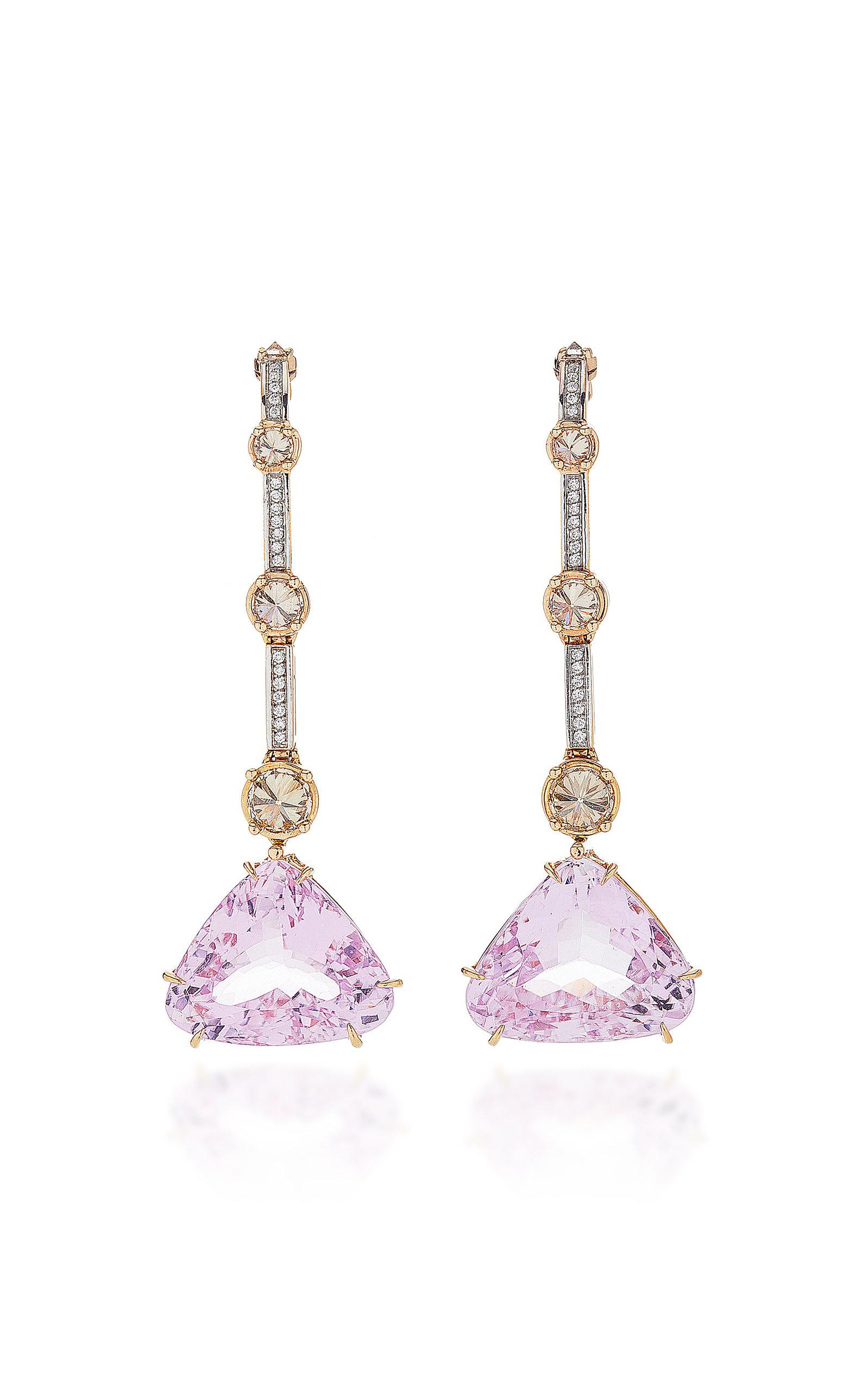 ARA VARTANIAN 18K Rose Gold Kunzite Earrings in Purple