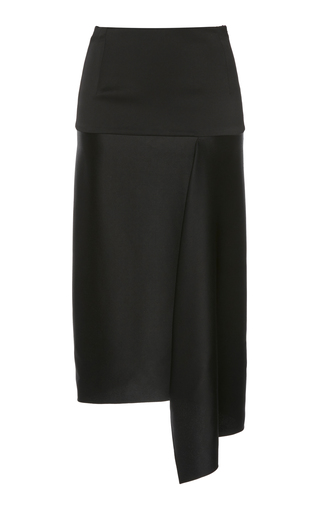 ATLEIN | Atlein Long Tailored Satin Crepe Draped Skirt | Goxip