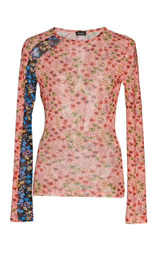 ATLEIN | Atlein Floral Stretch Tulle Racing Top | Goxip