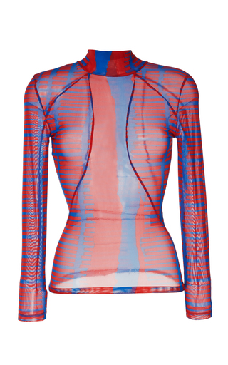 ATLEIN | Atlein Printed Stretch Tulle Wetsuit Top | Goxip