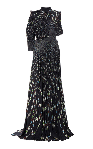 2406463a23 PREORDER · GivenchyAsymmetric Floral-Print Pleated Silk Gown