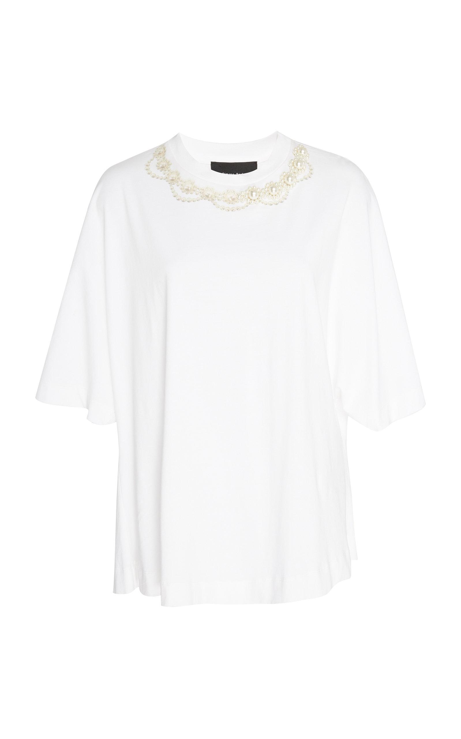 Simone Rocha T-shirts FAUX PEARL-EMBELLISHED COTTON-JERSEY T-SHIRT