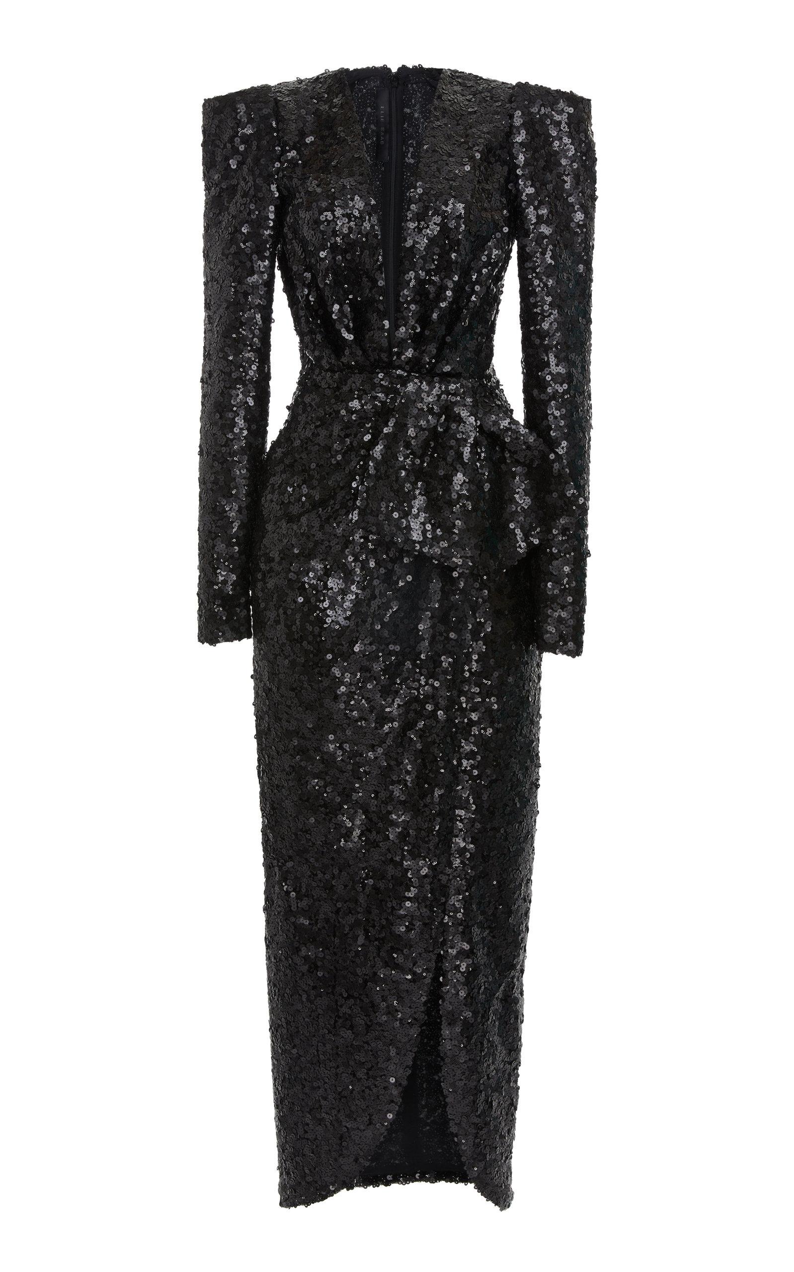 dcf5f615a37 Elie SaabPaillettes Embellished Tulle V-Neck Midi Dress. CLOSE. Loading
