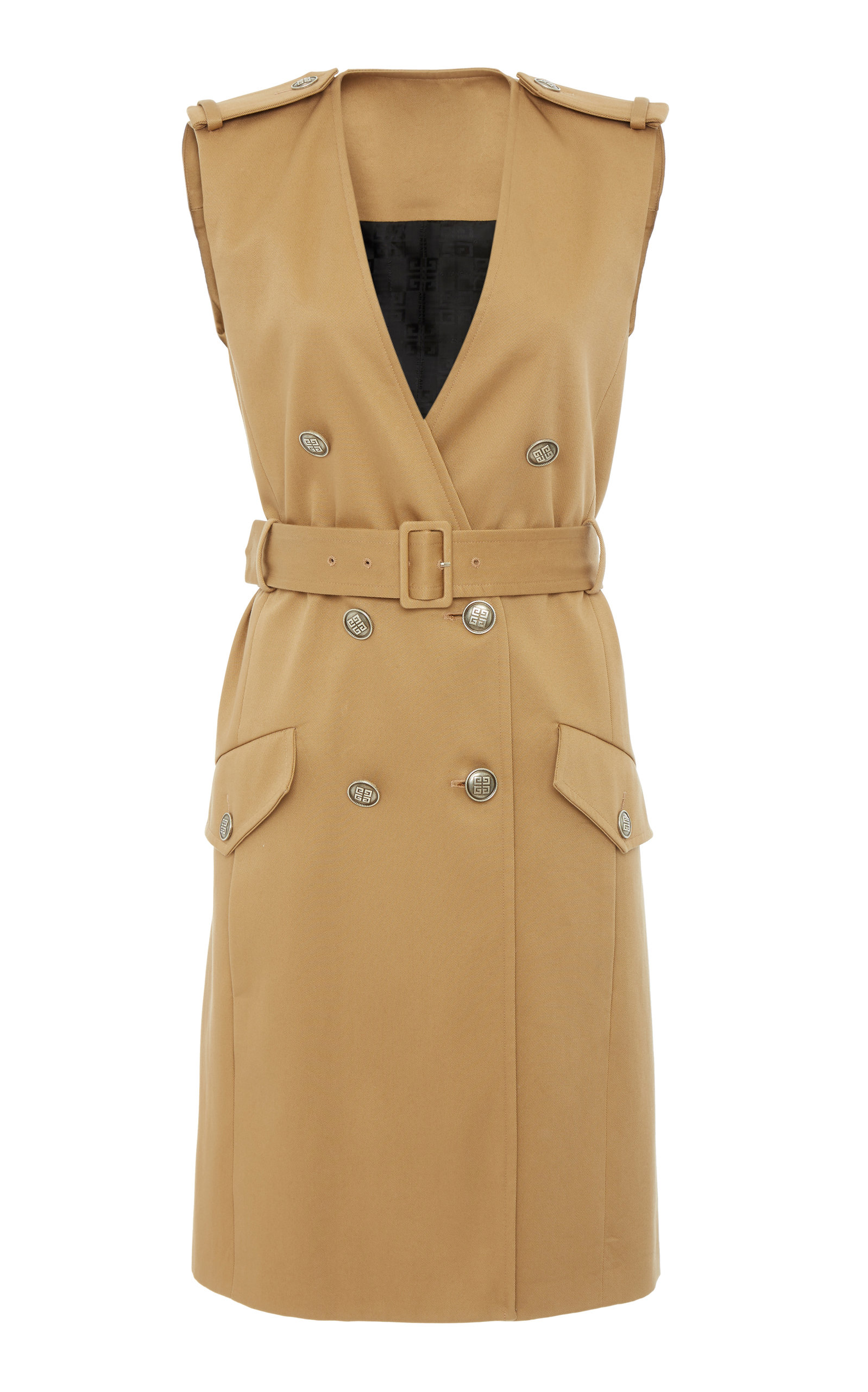 bca3f2a0 Belted Double-Breasted Cotton-Crepe Mini Dress by Givenchy   Moda ...