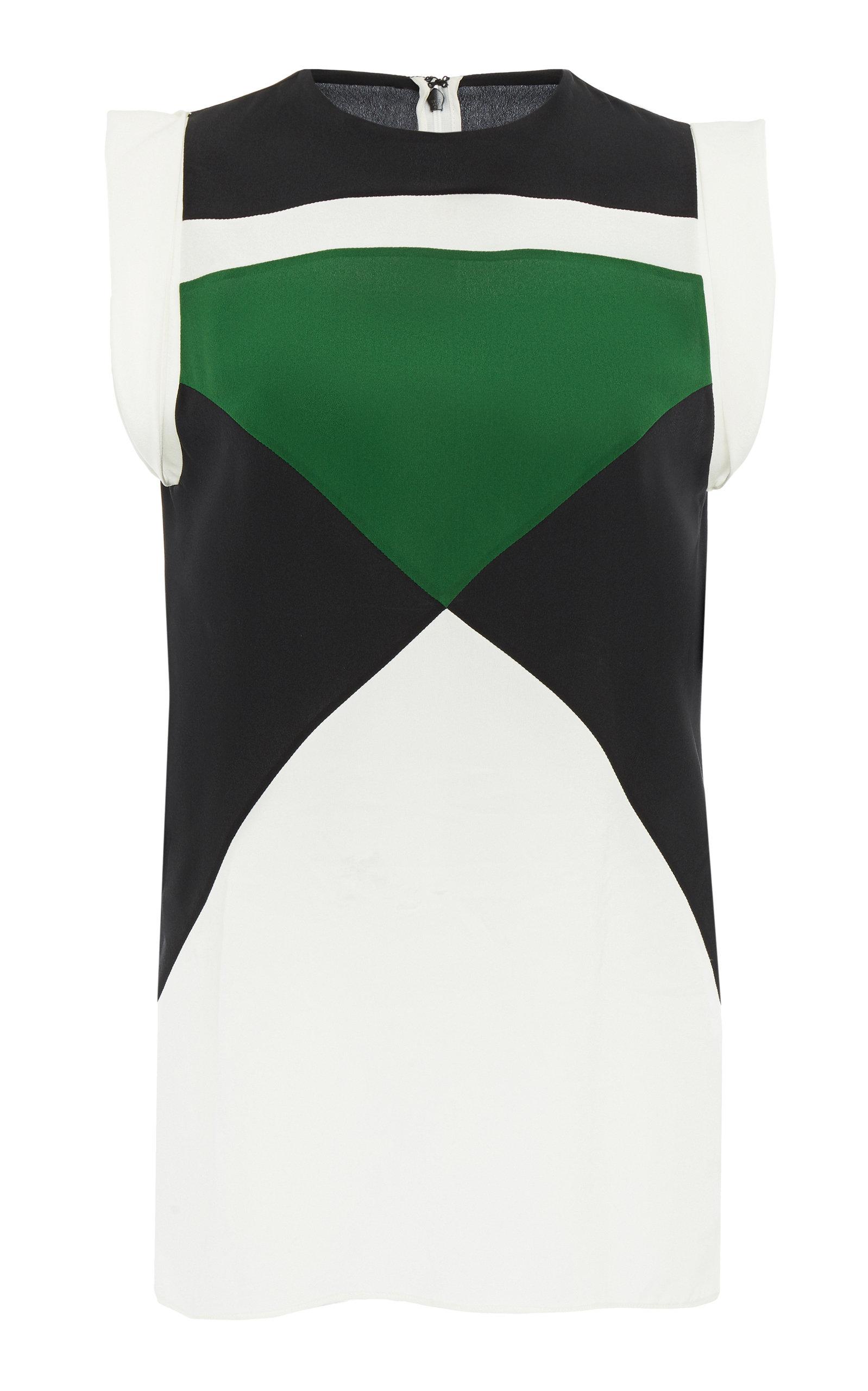 GIVENCHY   Givenchy Color-Block Silk Crepe De Chine Top   Goxip