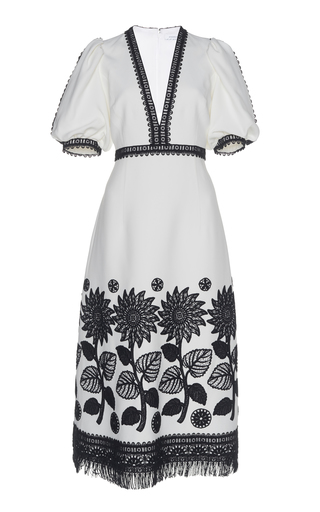 ANDREW GN | Andrew Gn Puff Sleeve Crepe Dress | Goxip