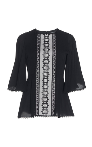 ANDREW GN | Andrew Gn Embroidered Silk Peplum Top | Goxip