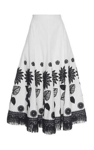 ANDREW GN | Andrew Gn Embroidered Cotton Skirt | Goxip