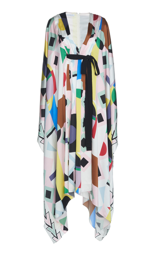 ANDREW GN | Andrew Gn Printed Silk Handkerchief Dress | Goxip