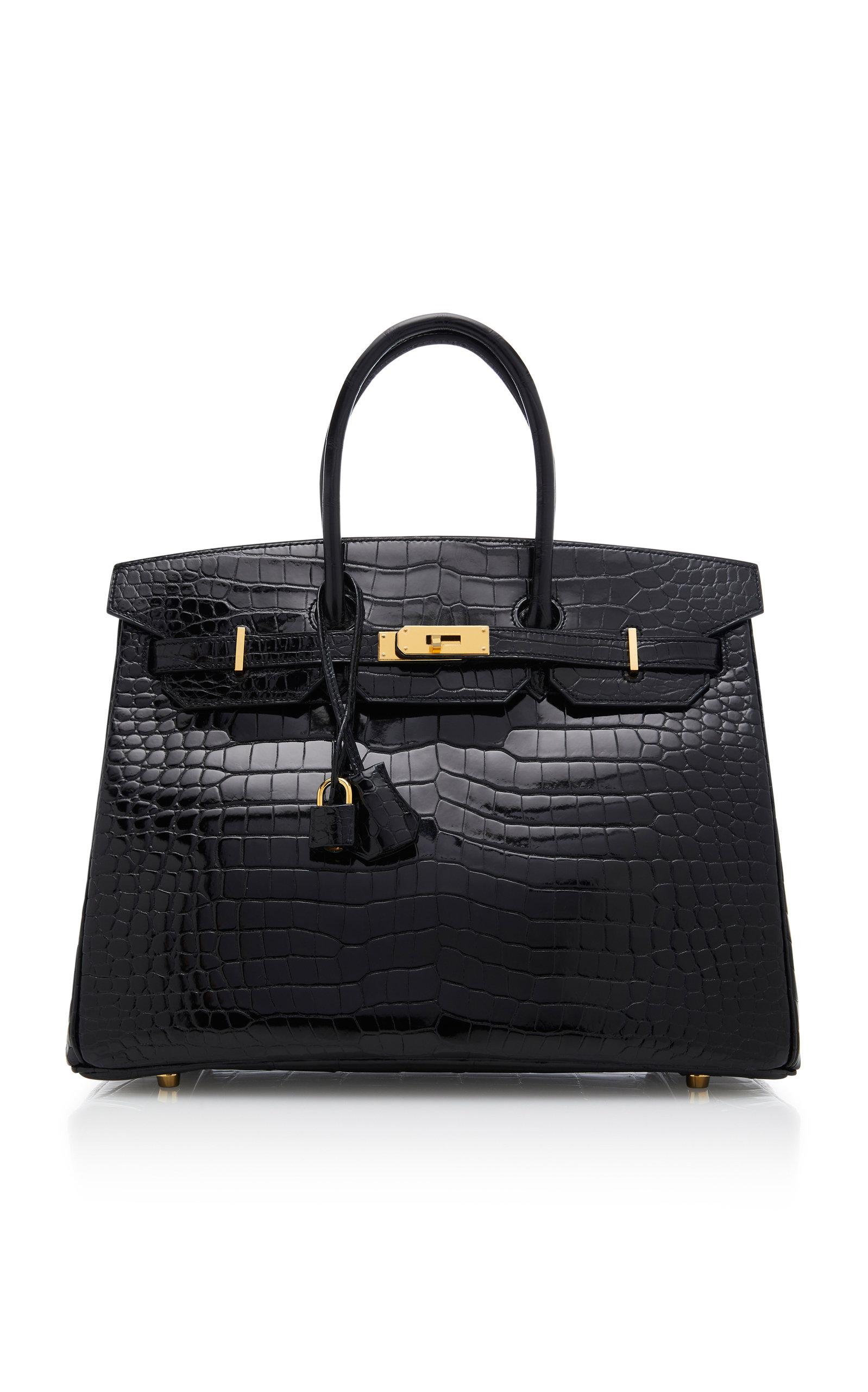 HERMES | Hermès Vintage By Heritage Auctions Hermes 35cm Black Porosus Crocodile Birkin | Goxip