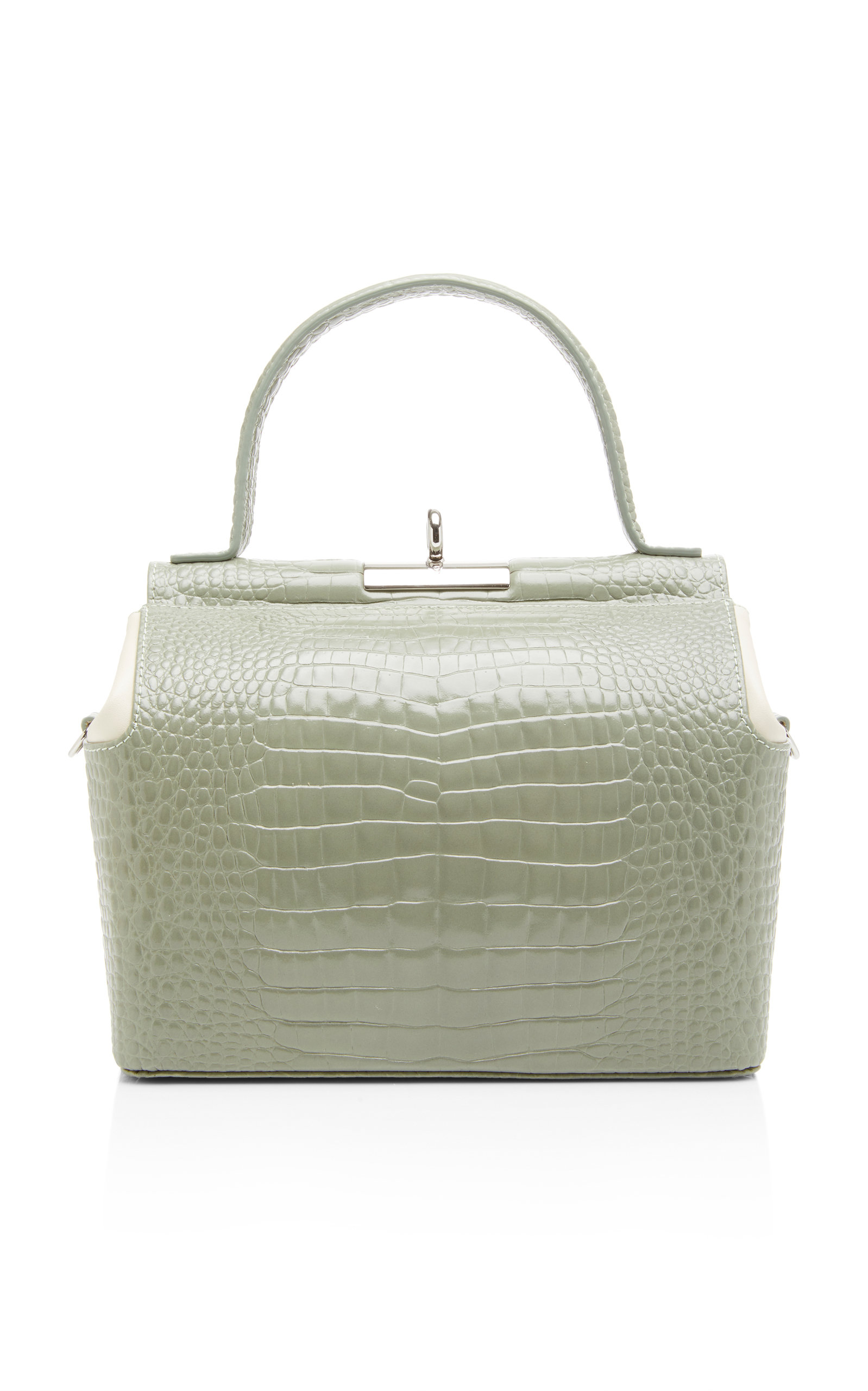 GU_DE   Gu De Chord Two-Tone Croc-Effect Leather Top Handle Bag   Goxip