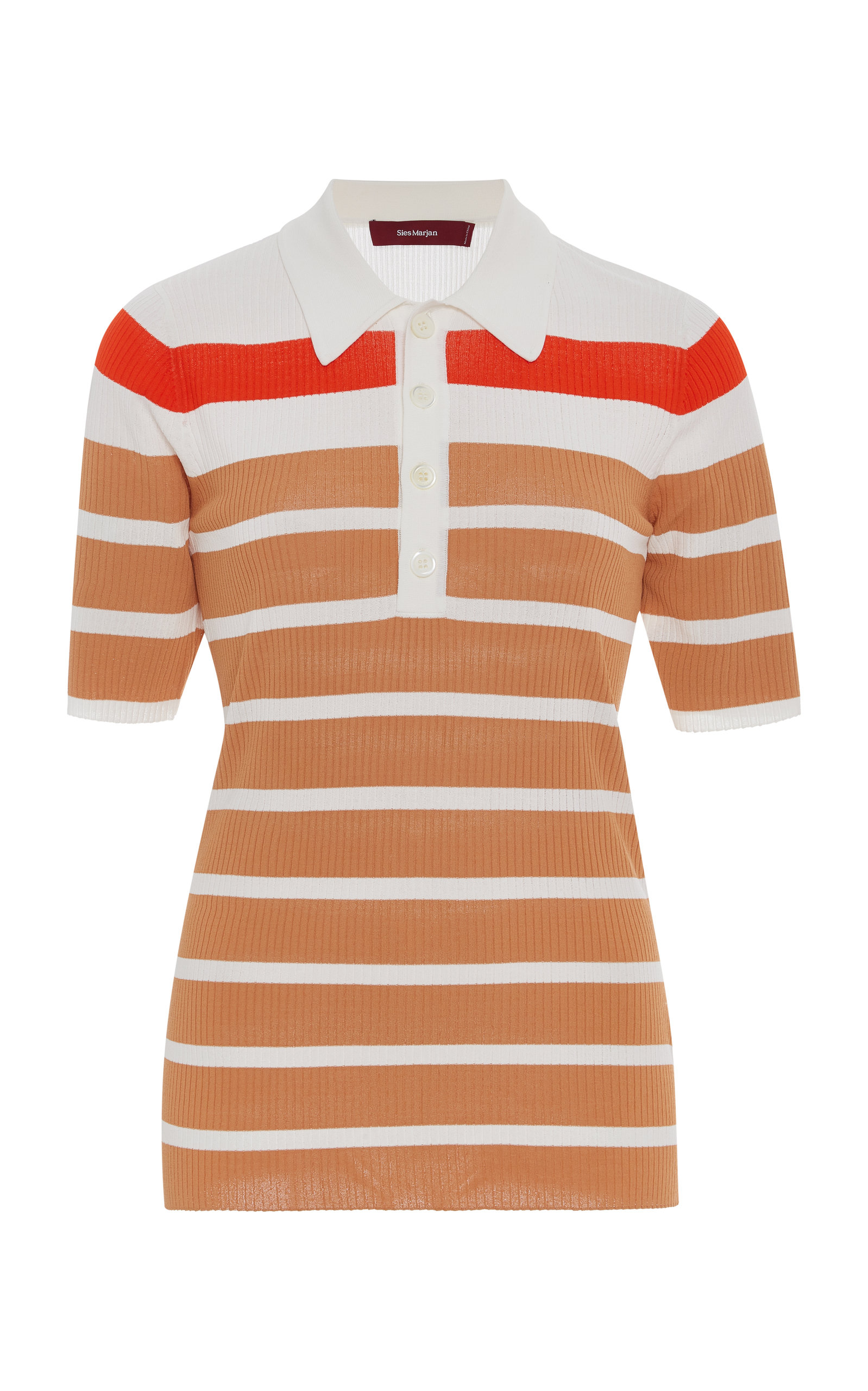 Sies Marjan Knits RORY STRIPED STRETCH-KNIT POLO SHIRT