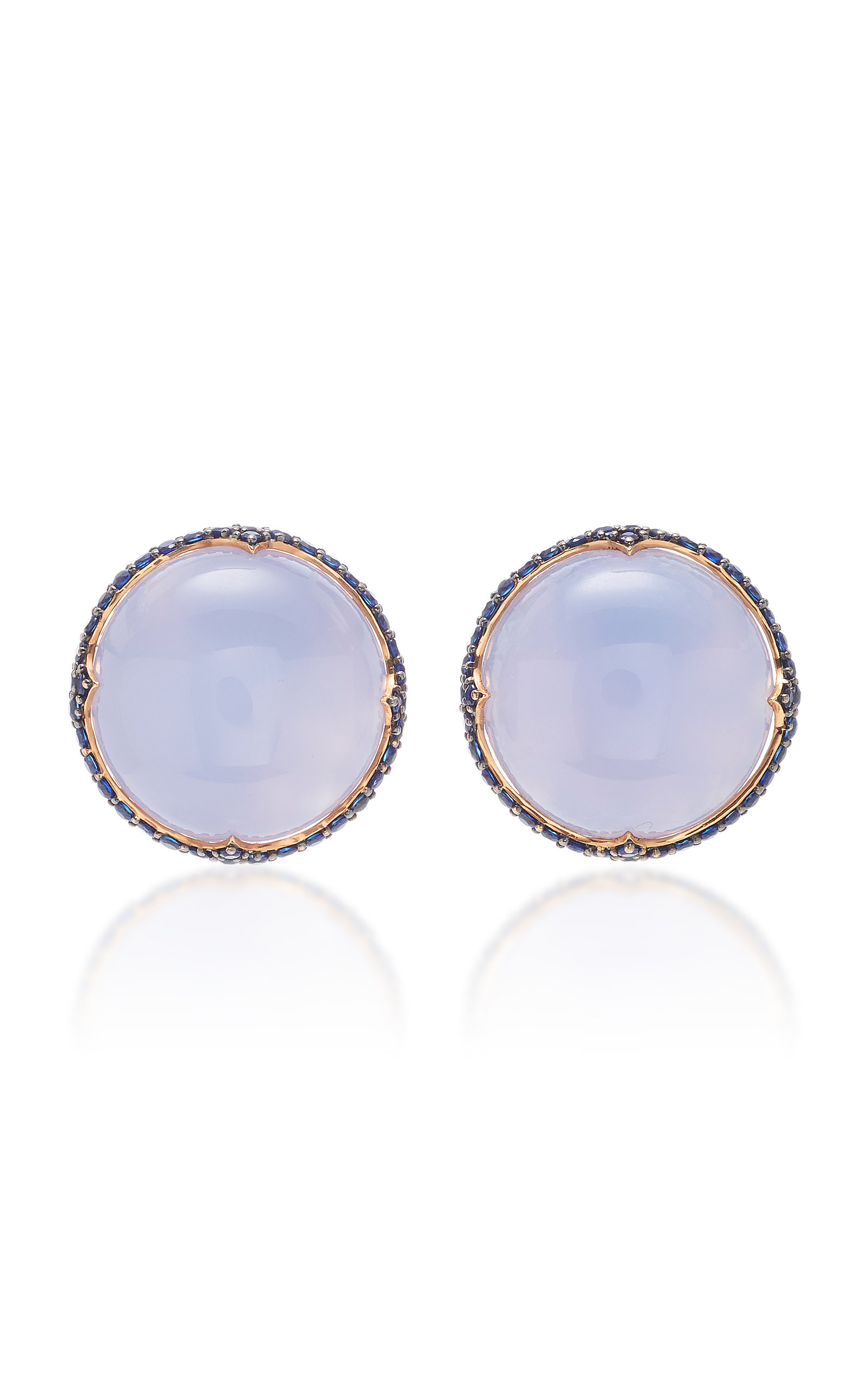 GIOVANE | Giovane 18K Rose Gold Chalcedony And Sapphire Earrings | Goxip