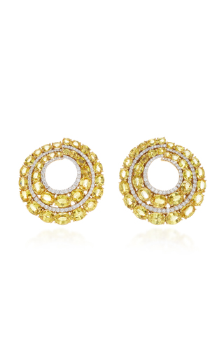 GIOVANE | Giovane 18K Gold Yellow Sapphire and Diamond Earrings | Goxip