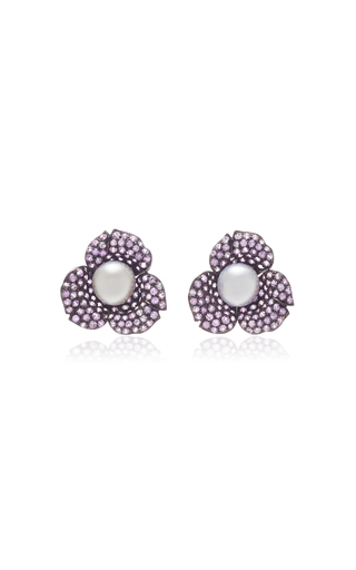 GIOVANE | Giovane 18K Oxidized Gold Pink Sapphire and Pearl Earrings | Goxip