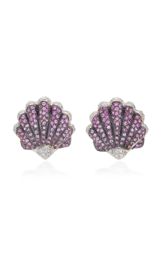 GIOVANE | Giovane 18K White Gold Pink Sapphire and Diamond Earrings | Goxip