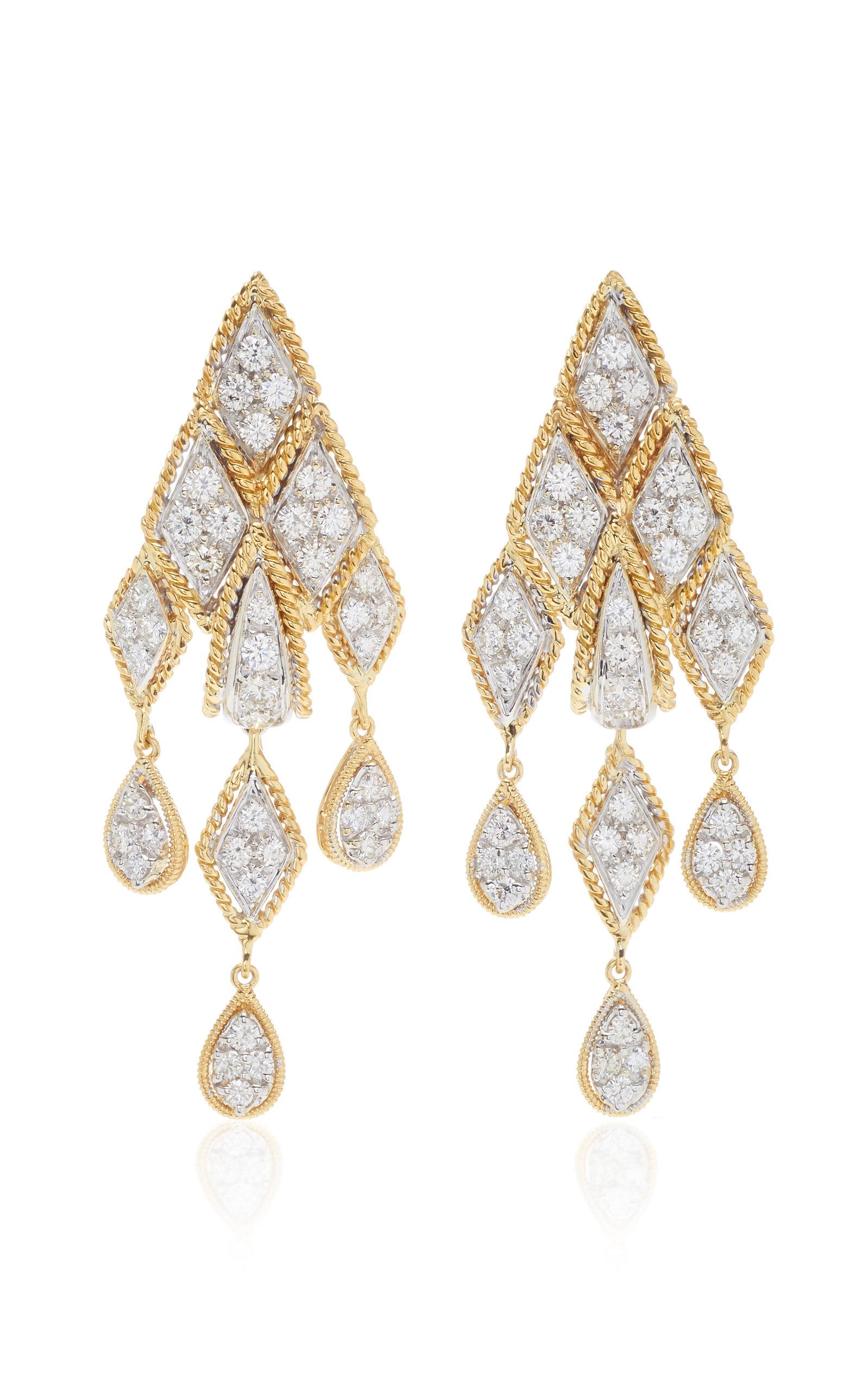 GIOVANE | Giovane 18K Yellow And White Gold Diamond Earrings | Goxip