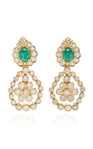 GIOVANE | Giovane 18K Gold Emerald and Diamond Earrings | Goxip