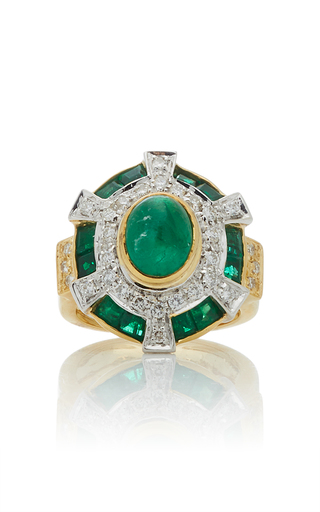 GIOVANE | Giovane 18K Yellow and White Gold Emerald and Diamond Ring | Goxip