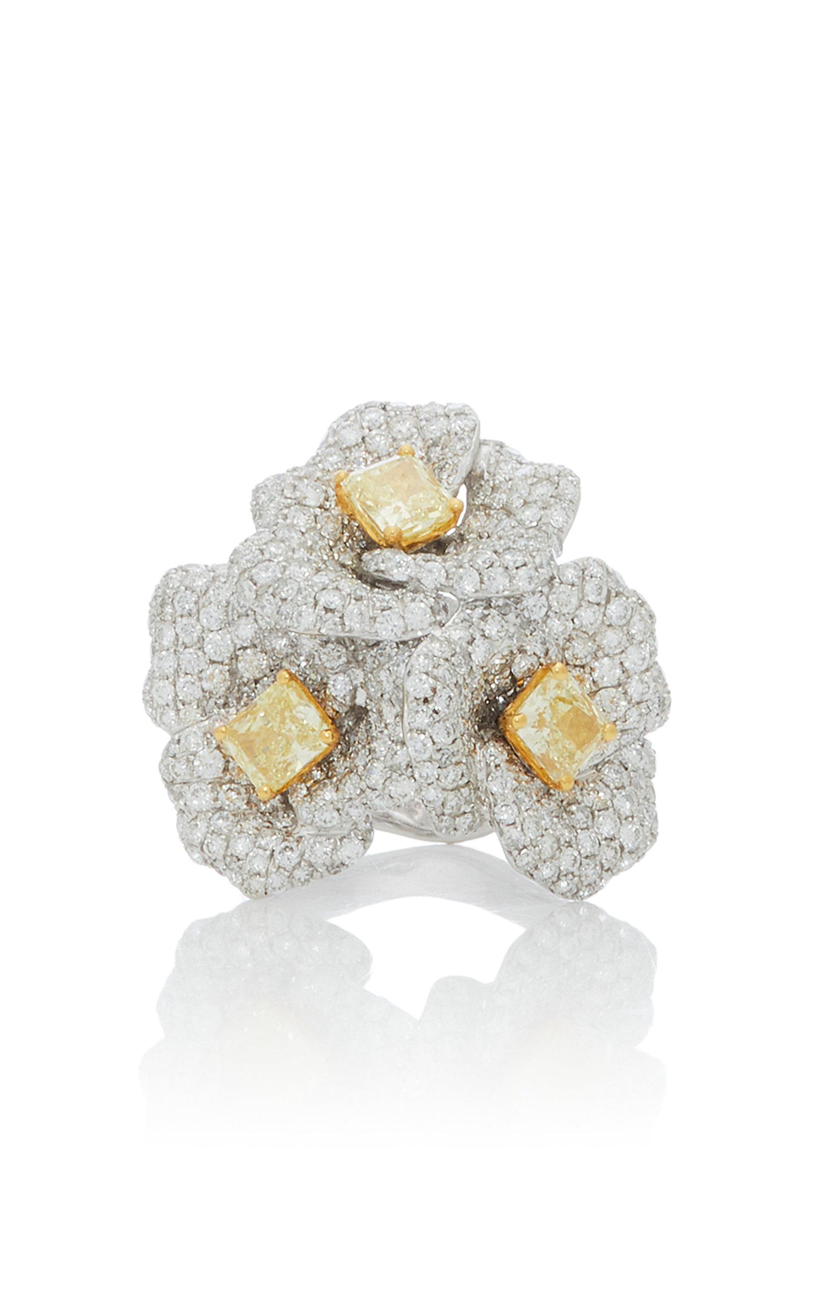 GIOVANE | Giovane 18K White Gold White And Yellow Diamond Ring | Goxip