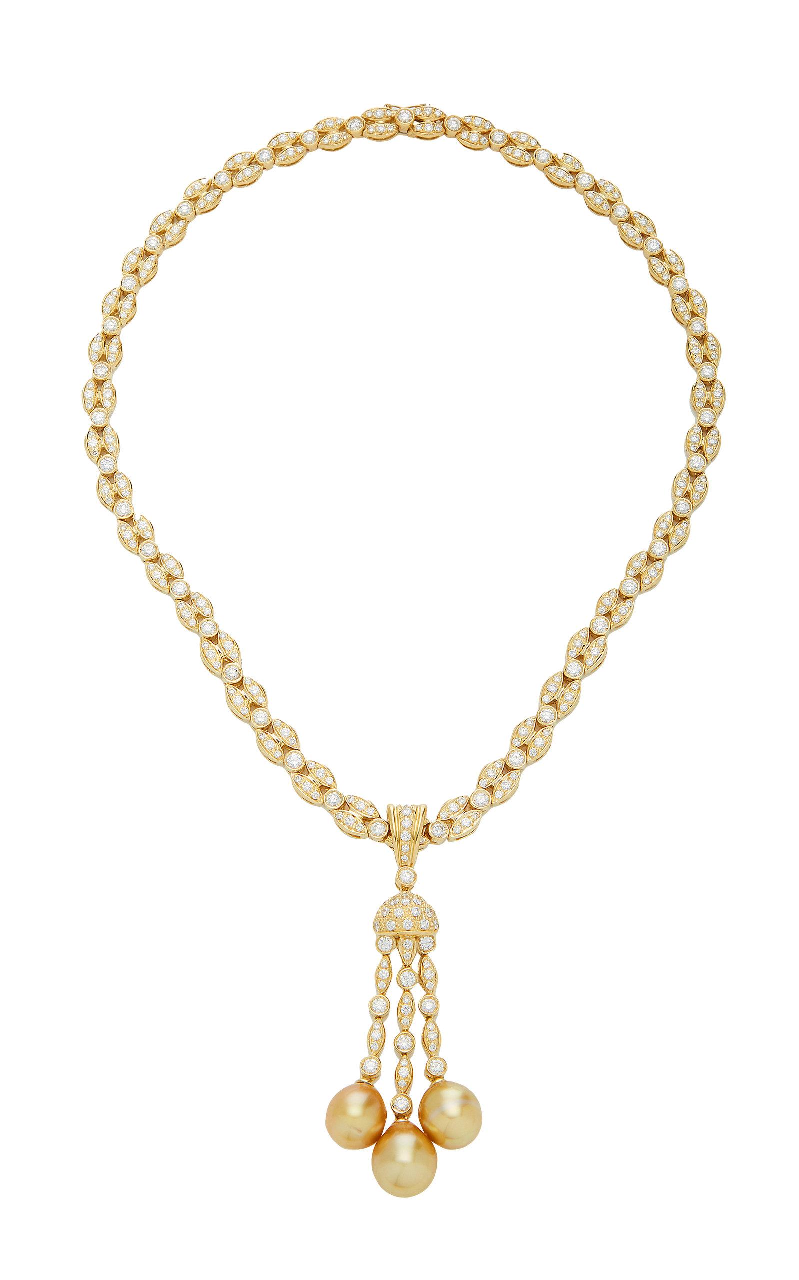 GIOVANE | Giovane 18K Gold Diamond And Pearl Necklace | Goxip
