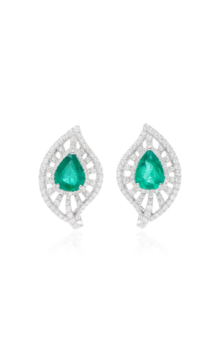 GIOVANE | Giovane Diamond Leaf With Pear Emerald Earrings | Goxip