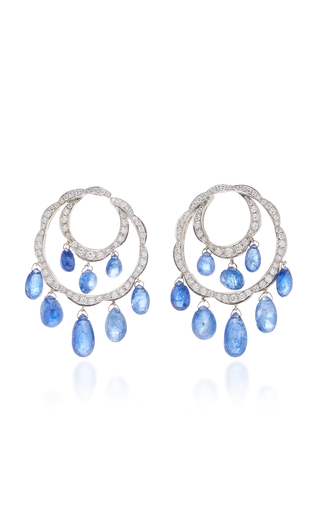 GIOVANE | Giovane 18K White Gold Sapphire and Diamond Earrings | Goxip