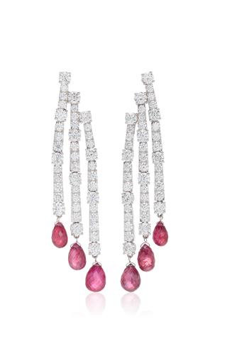 GIOVANE | Giovane 18K White Gold Diamond and Ruby Earrings | Goxip