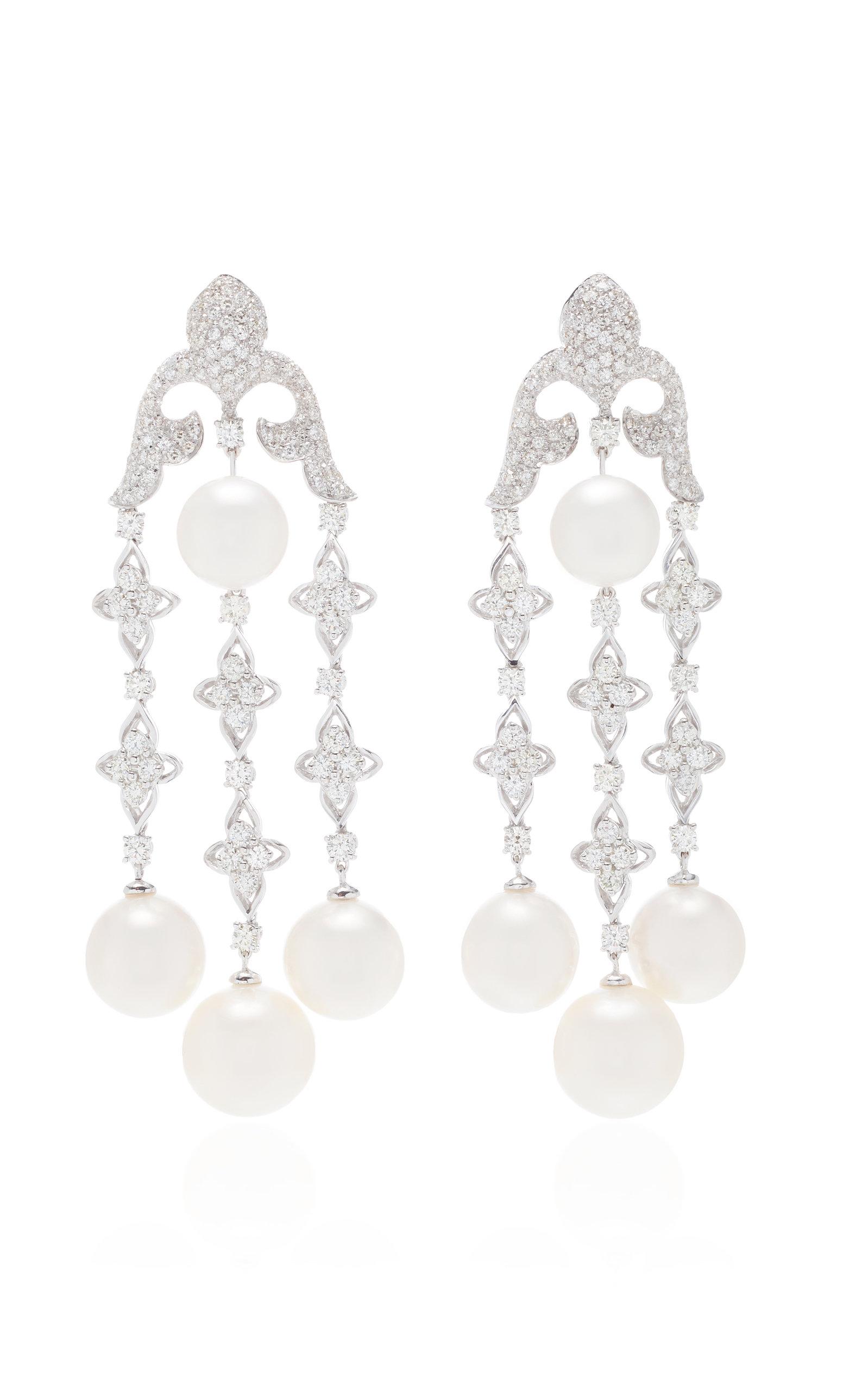 GIOVANE | Giovane 18K White Gold Diamond And Pearl Earrings | Goxip