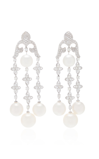 GIOVANE | Giovane 18K White Gold Diamond and Pearl Earrings | Goxip