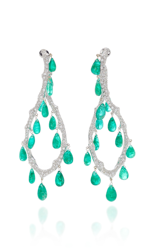 GIOVANE | Giovane 18K White Gold Diamond and Emerald Earrings | Goxip