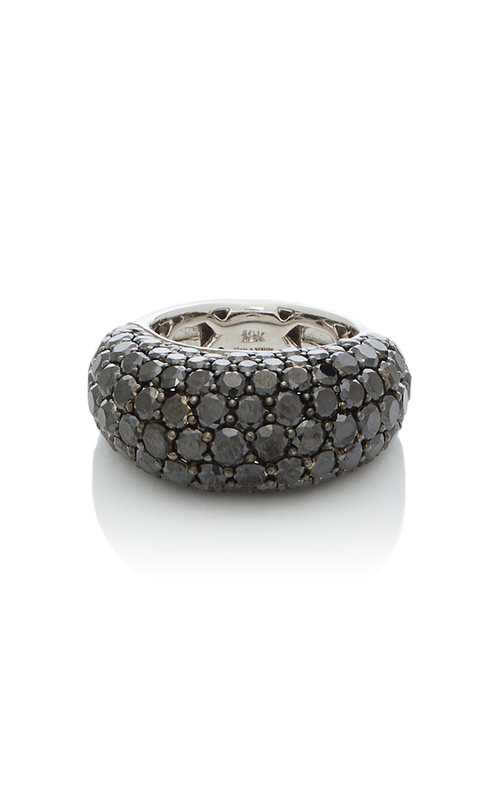 GIOVANE | Giovane 18K White Gold Pavé Black Diamond Ring | Goxip