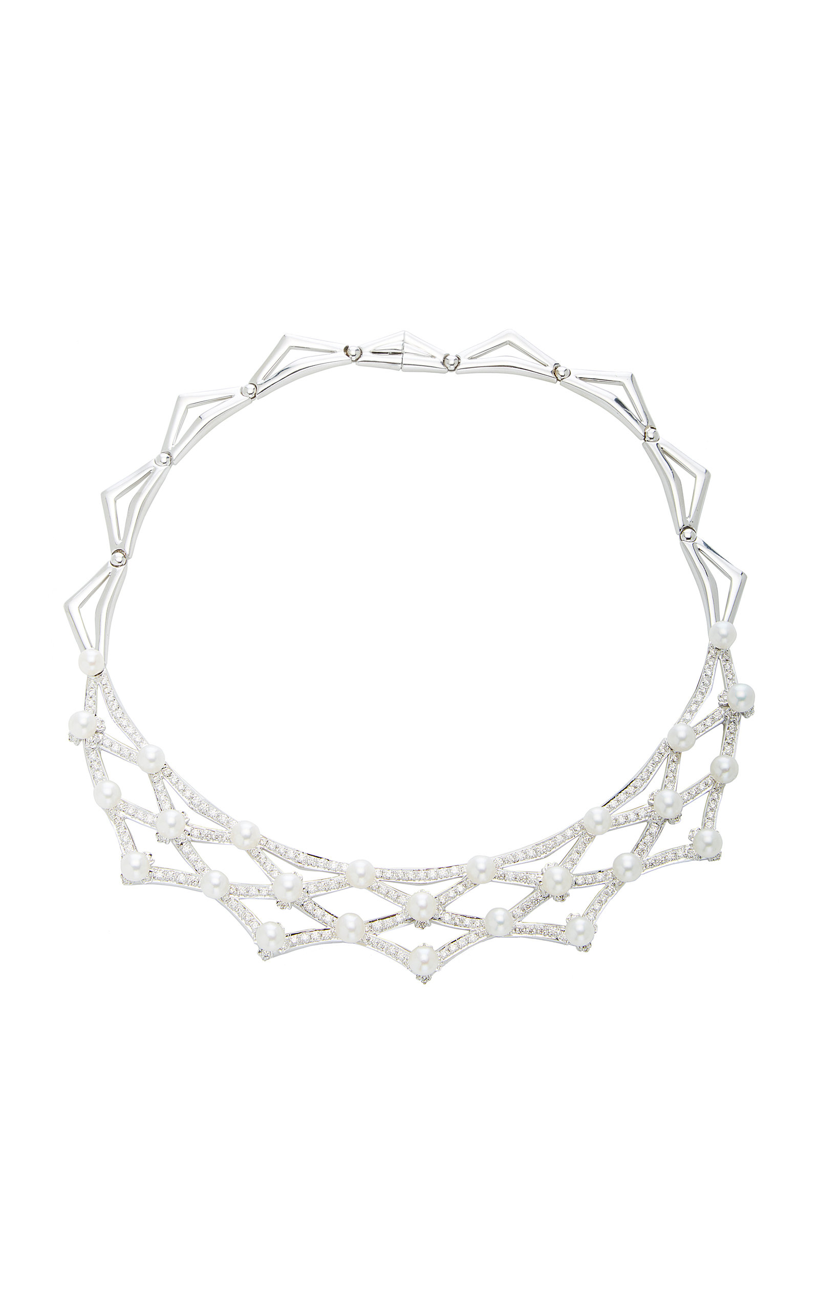 GIOVANE | Giovane 18K Gold Diamond Pearl Necklace | Goxip