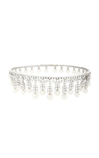 GIOVANE | Giovane 18K White Gold Diamond And Pearl Choker | Goxip
