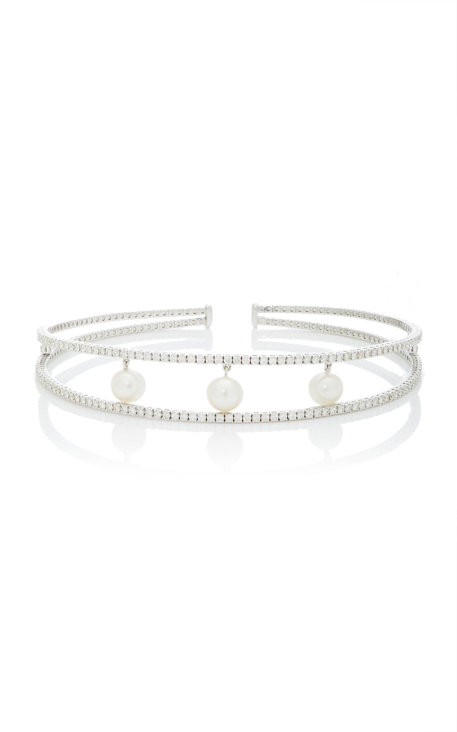 GIOVANE | Giovane 18K White Gold Pearl And Diamond Necklace | Goxip