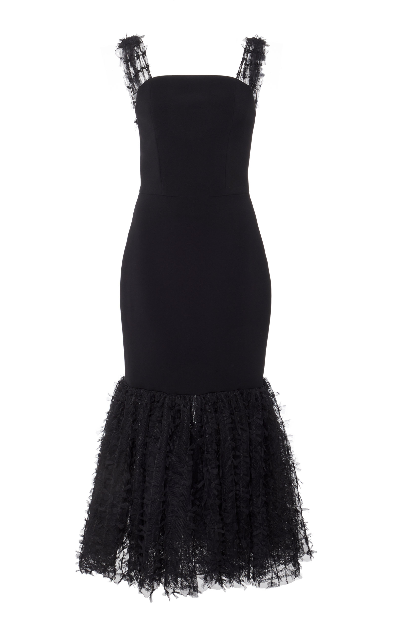 Christian Siriano BLACK MID LENGTH CREPE DRESS