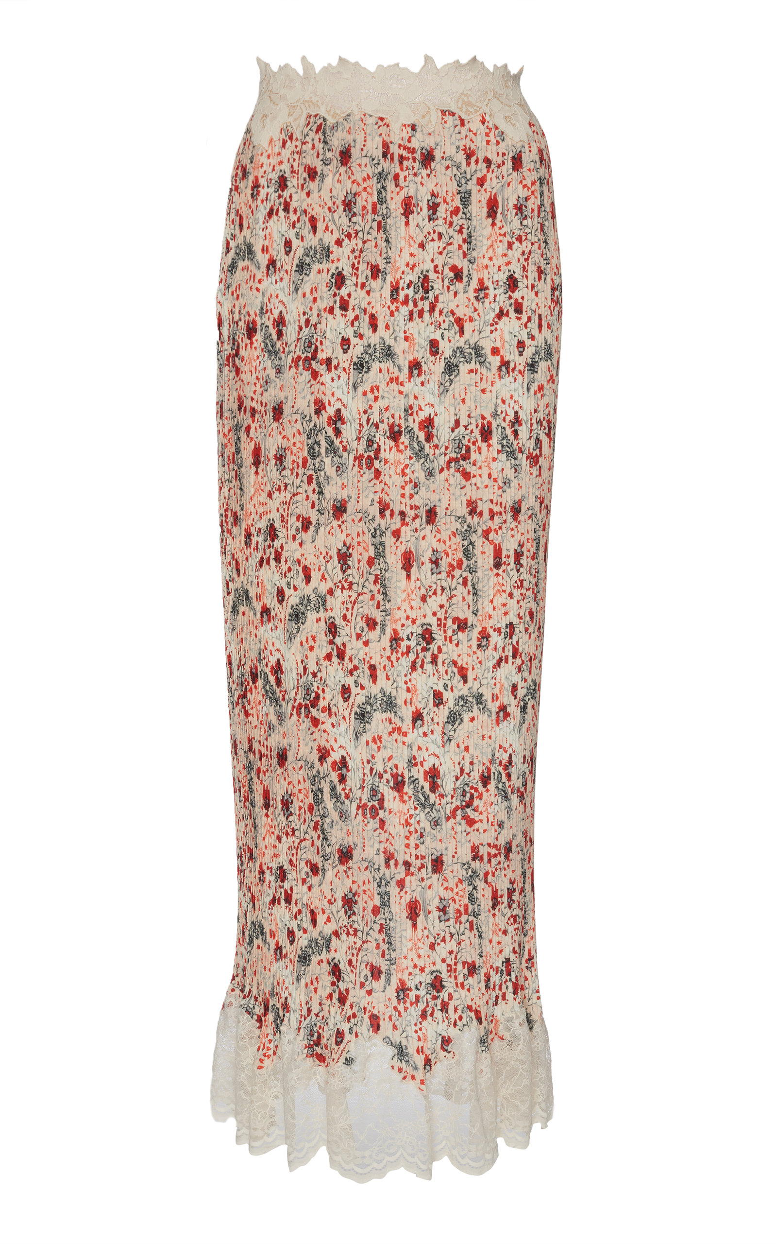 PACO RABANNE   Paco Rabanne Lace-Trimmed Floral-Print Crepe De Chine Maxi Skirt   Goxip