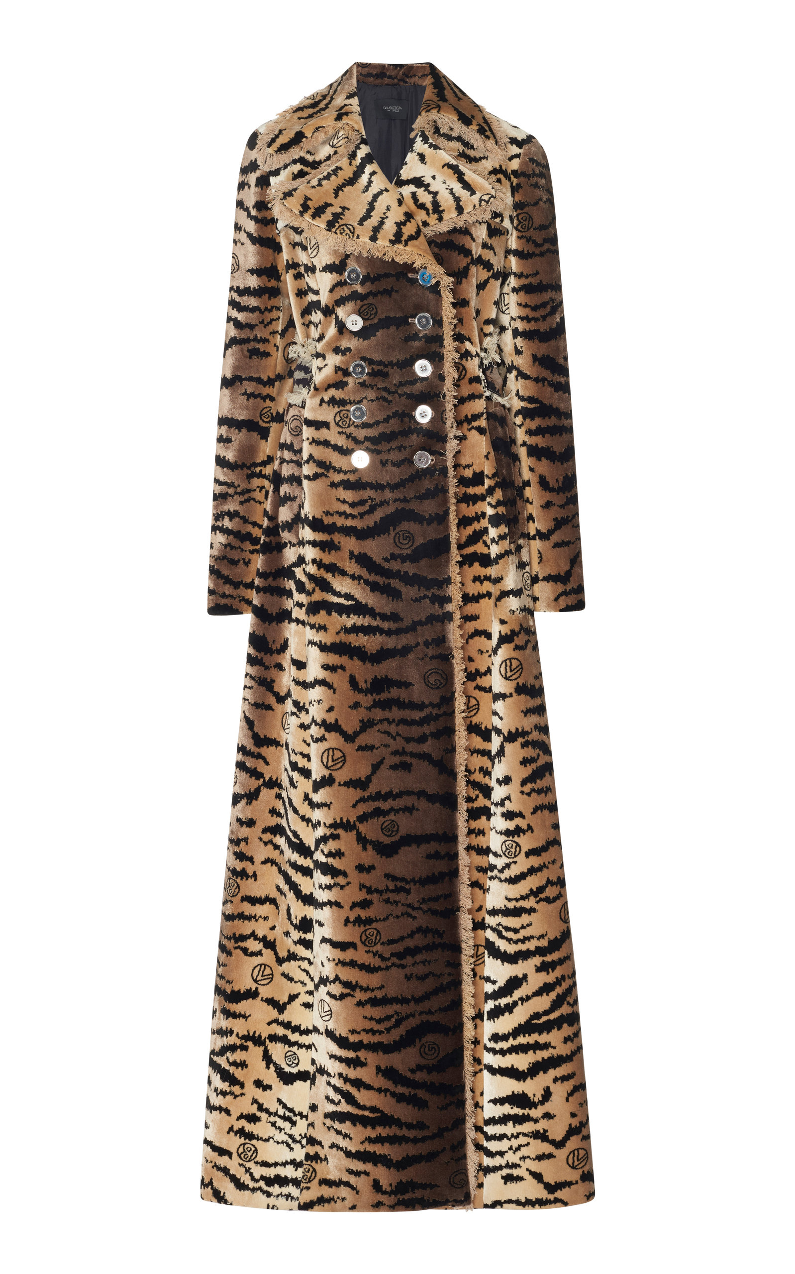Double Breasted Tiger Print Coat