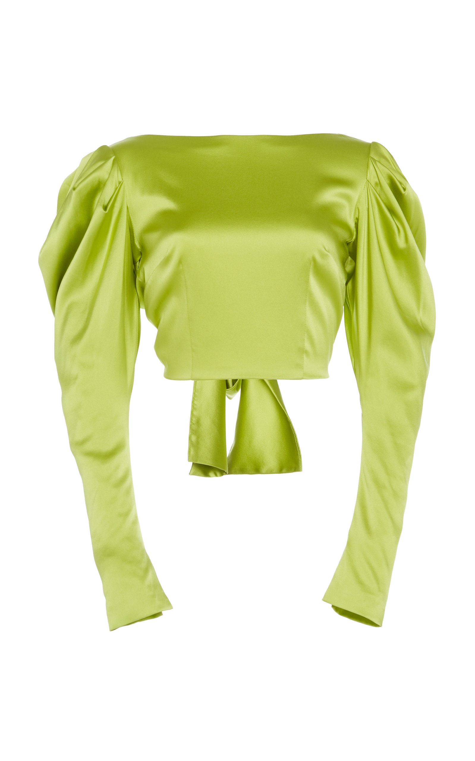 b73d1976d225a 16ArlingtonPuff Sleeve Tie-Back Silk Cropped Top. CLOSE. Loading