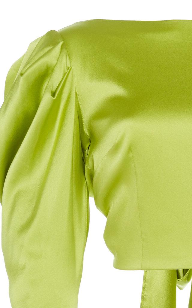 68ce4dccd041b 16ArlingtonPuff Sleeve Tie-Back Silk Cropped Top. CLOSE. Loading. Loading.  Loading