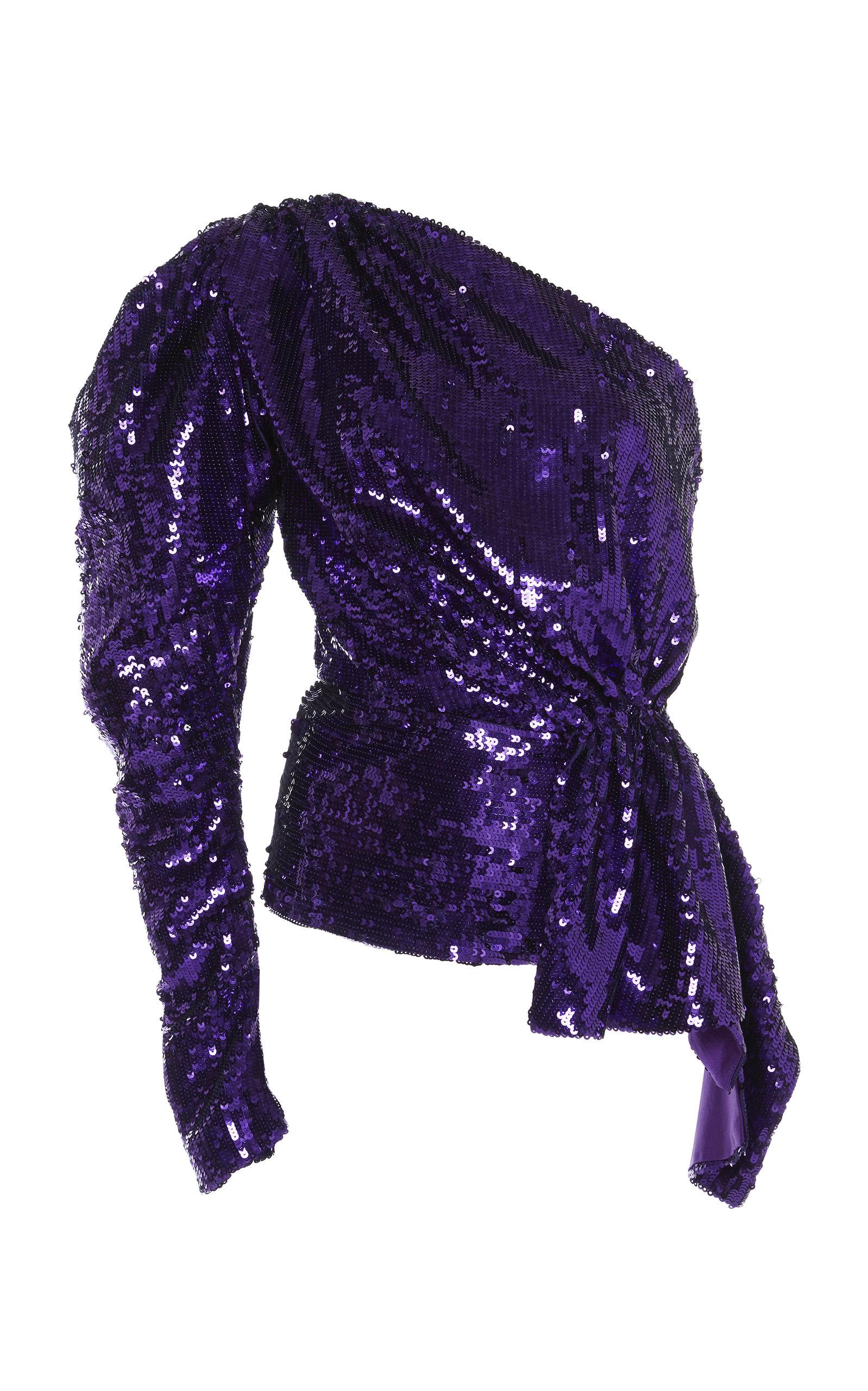 b6da1db712b70 16ArlingtonOne-Shoulder Puff Sleeve Sequin Top. CLOSE. Loading